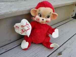 Vintage 1961 Rushton Rubber Face Monkey Plush Valentine - No Monkey Business