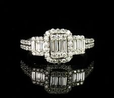KAYS JEWELERS DESIGNER NATURAL 1.11ctw DIAMOND SOLID 14K WHITE GOLD CLUSTER RING