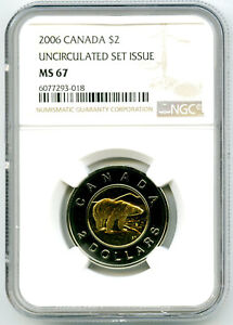 1996-2006 DOUBLE DATED $2 CANADA TOONIE (TWO DOLLAR) POLAR BEAR NGC MS67