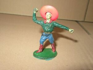 792P Figurine Plastic Painted Cowboy Mexican And Sound Sombrero H 5.24 CM
