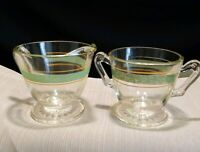 Vintage Bartlett Collins Sugar/Creamer Set, Green & Gold Strip