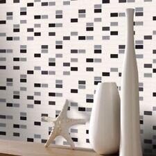 Rasch Black Grey White Mosaic Tile Kitchen Bathroom Textured Wallpaper 817119