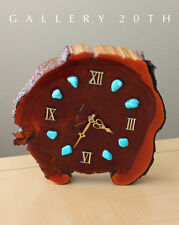 Mid Century Lacquered Wood Clock! Turquoise Eames Modern Retro Vtg 1960s Atomic