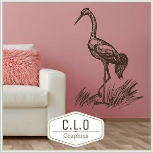 Crane Wall Sticker Vinyl Art Transfer Decor Flamingo Decal Giant Bird Graphic UK