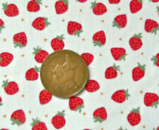 IVORY WITH A DESIGN OF RED STRAWBERRIES - 100% COTTON FABRIC F.Q.'S