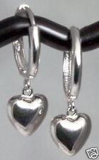 NEW Solid 14K White Gold HUGGIES Earrings Dangling Puffed Hearts 1.41g