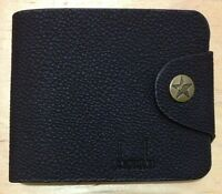 Gents Men's New Genuine Real Leather High Quality Wallet Card Holder Purse Black