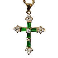 "Crucifix Cross Pendant Green Emerald CZ 18K Yellow Gold GP Necklace 18"" Chain"