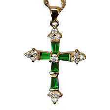 "Crucifix Cross Pendant Green Emerald CZ 18K Yellow Gold GP Necklace 18"" Chain"