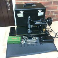 Vintage Singer 221K Portable Featherweight Sewing Machine with accessories