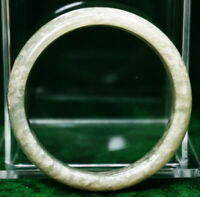 Antique Chinese Translucent Icy Moss in Snow & Cream Jade Stone Bangle 61 mmRare