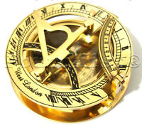 NAUTICAL BRASS POCKET SUNDIAL WITH MAGNETIC COMPASS-NAUTICAL