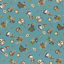 Lecien Fabric - Alice in Wonderland - Girl's Story - Blue - 100% Cotton Shirting