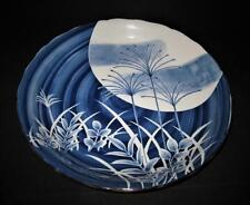 Asian Pottery White & Blue, SIGNED Charger Platter Decorative Plate, 14 1/4""