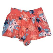 American Eagle Tropical Print Soft Shorts Coral Floral High Waist Women Sz L New