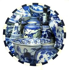 "New ANNIE MODICA Imari Blue and White Decoupage Wood Large Bowl 15"" Gorgeous"