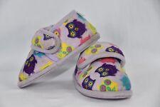 Girls Small 5-6 Purple Owl Night Slippers Slip On Fleece Lined Sleepwear Shoes