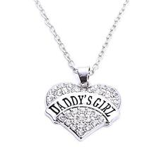 DADDY'S GIRL SILVER NECKLACE WITH SHINY STUDDED CRYSTAL HEART PENDANT  #KC22
