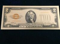 """<MINT> OLD STYLE """"GOLD"""" $2.00 GOLD CERTIFICATE 2 DOLLAR Rep.*Banknote~ yha"""