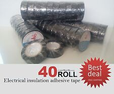 New x40 ROLLS Black Electrical Insulation Adhesive Tape PVC Vinyl 19mmX10M Deer