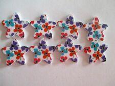 8 x 25mm STAR Shape Wooden Buttons -Flower Design - 2 Holes - No.977
