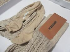 MISSONI ORANGE LABEL Beige Silver STOCKING TIGHTS SZ S MSRP $245 Made In Italy