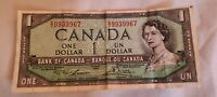 Vintage Canada 1954 Ottawa One $1 Dollar Note Circulated