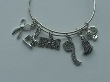 LOVE SEWING SCISSORS SEWING MACHINE TASSEL BUTTONS SILVER CHARM BANGLE BRACELET
