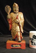 Antique Rare Taoist Drunken Monk Ji Gong Hard Carved Solid Wood Gold Gilt 1920