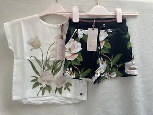 BNWT Girls Ted Baker Top & Shorts Set Summer Outfit Age 8-9 Years