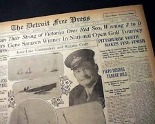 GENE SARAZEN Wins U.S. Open 1st Major Title GOLF Championship 1922 Old Newspaper
