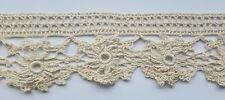 A22 3 Yards Antique Crochet Lace Trim Salvage Trims Edging Sewing Costume Cotton