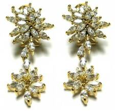 White Marquise CZs Sterling Silver Gold Plated Graduated Cluster Earrings