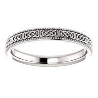 SIZE 6.5 -14K White Gold 3mm Wide Celtic-Inspired Milgrain Wedding Band / Ring
