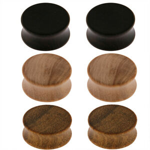 Pairs of Organic Wood Double Flared Saddle Ear Tunnels Plugs Expander E552