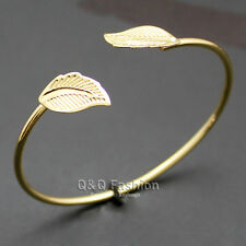 Grecian Lady Gold Roman Double Laural Leaf Open Wire Bracelet Bangle Cuff