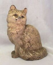 Antique 1930s Hubley Sitting Persian Cat Cast Iron Doorstop Original Paint