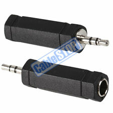 "TWIN PACK 3.5mm STEREO PLUG to 6.35mm MONO 1/4"" JACK FEMALE SOCKET AUDIO ADAPTER"