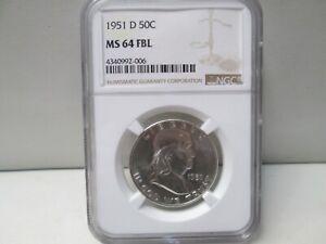 1951 D US Franklin Silver Half Dollar NGC MS 64 FBL