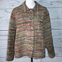 Coldwater Creek Womens Size XL Jacket Tapestry Multi Color Button Down USA