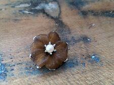 ♥ Zauberhafte alte Brosche Blume Blüte braun Perle 33 mm♥