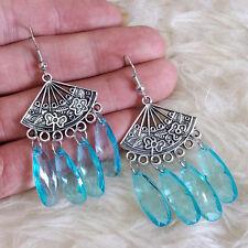 Teardrop Beads Dangle Drop Hook Earrings Vintage Boho Womens Antique Blue Clear