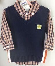Boy's Set GYMBOREE Sweater Vest Plaid Shirt 2 Piece NAVY BLUE ORANGE 6-12