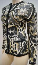 ADRIENNE VITTADINI Black Cream Grey Gold Metallic Patterned Wool Blend Cardigan