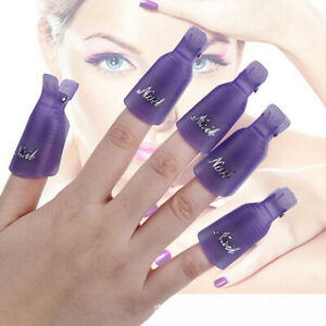 10X Plastic Nail Soak Off Uv Gel Art Polish Remover Wrap Gelish Clip 11 Colors