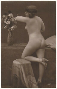 Original vintage 1920s standing nude, rear view