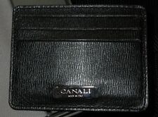 $495 NEW CANALI BLACK ZEBRA SKIN EMBOSSED LEATHER BILLY CARD SLIM WALLET PLAQUE