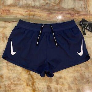 Nwt Mens Nike Aeroswift Usa Navy Blue Lined Running / Racing 2 Inch Shorts Sz: M