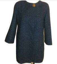 NWT $189 Zara Open Wool Blend Sweater Coat XS Blue Tweed