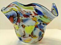 Hand Blown Art Glass Multi-color Bowl Ruffled Edge — Blue, Red, Green